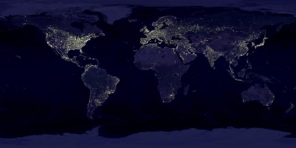 Carte du monde connectée