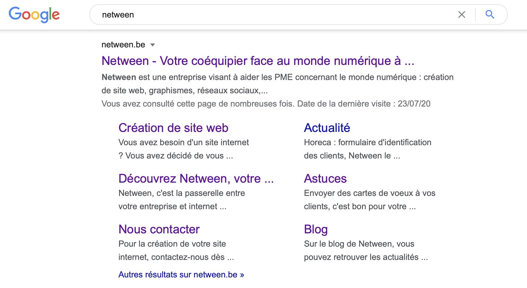 Netween dans la recherche google