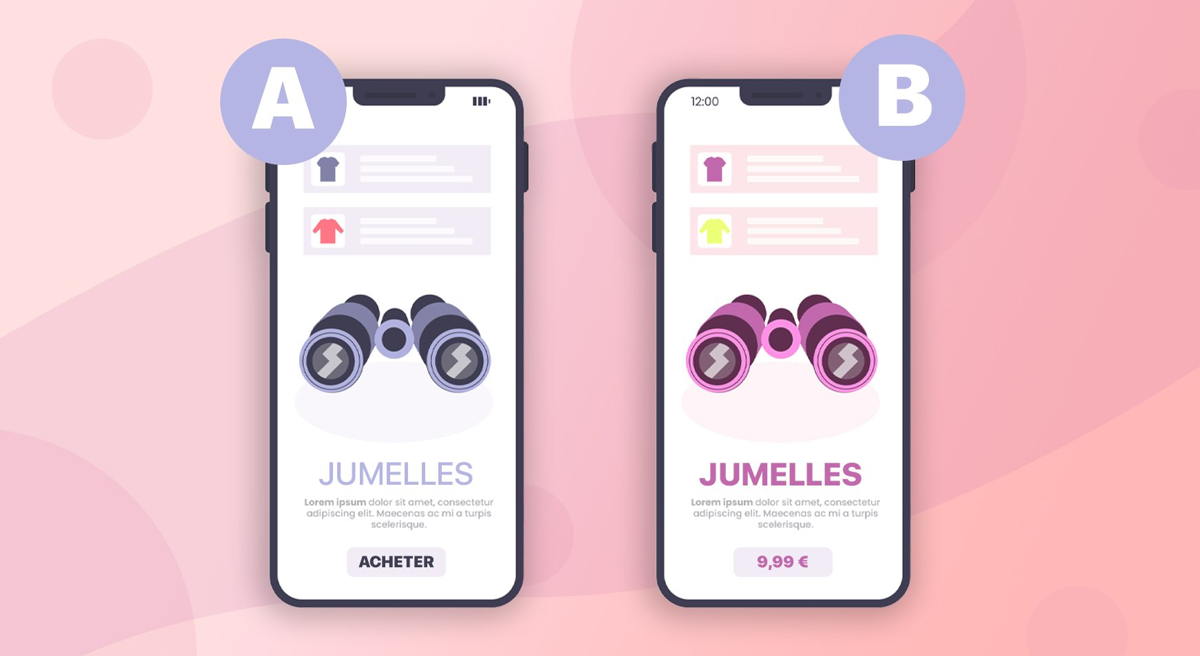 Exemple d'un test A/B pour une publicité sur des jumelles.