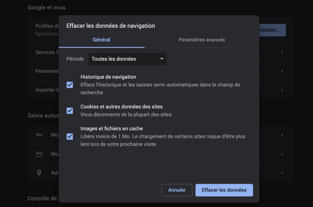 Paramètres de Google Chrome sur la suppression de l'historique et du cache